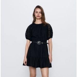 Zara Embroidered poplin dress